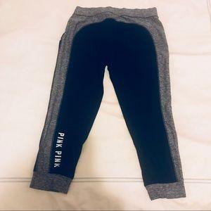 VS PINK Black & Grey Cropped Sweatpants Yoga Pants